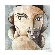 Cat and Woman Giclee Print by Didier Lourenco at Art.com