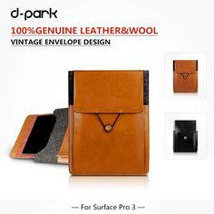 Microsoft Surface Pro 4/3 Case  Pouch Genuine Leather & Wool For Microsoft Surface pro 4/3 Macbook 12 laptop Jumper Ezpad 5s bag