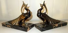 Pair of Elegant Peacock Bookends. Spelter Figures on Marble Bases. Vintage…