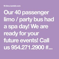Our 40 passenger limo / party bus had a spa day! We are ready for your future events! Call us 954.271.2900 #aclasslimousineservice #partybus #bocalimo #specialday #weddinglimo #souflorida #aclasslimos...