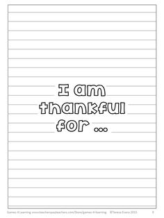 FREEBIE - I am thankful for... Writing sheets! Perfect for Thanksgiving!