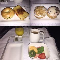"Air New Zealand Business Premier London-LA Pre-Landing ""Refreshment"" of Fresh Fruit Salad; Spinach/Mushroom/Mozzarella Mini Bagel and Fried Tramezzino Sandwich; Crosstown Doughnuts"