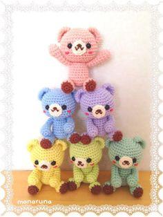 Kawaii Crochet, Crochet Bear, Diy Crochet, Amigurumi Patterns, Crochet Patterns, Doll Hair, Nifty, Diy And Crafts, Minis