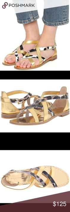 DVF Diane Von Furstenberg Cannes gold flat shoes 100% authentic, brand new in box. Comes with dust bag. Embossed and metallic Leather upper, Leather lining. Diane von Furstenberg Shoes Sandals