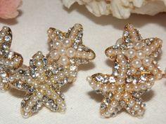 Starfish Earring Pearl Rhinestone, beach wedding jewelry, Crystal Pearl Starfish Stud Earrings, Starfish Earrings,