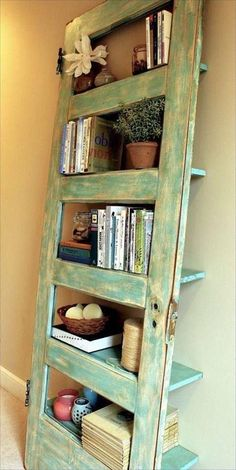 Upcycled Door - Shelf. I would like to try positioning the shelves forward thru the door and mounting on the wall above a small desk or table near the kitchen.