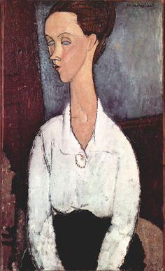Portrait of Lunia Czechowska in white blouse, 1917 Amedeo Modigliani