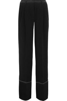 SONIA RYKIEL SONIA RYKIEL - SATIN-TRIMMED CREPE WIDE-LEG PANTS - BLACK. #soniarykiel #cloth #