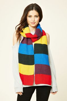 Colorblock Ribbed Knit Scarf  #F21HolidayMood