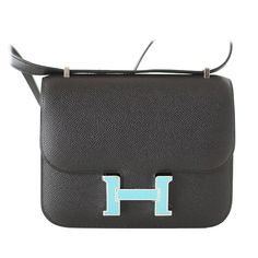 3e57f436acf8 Hermes Constance 18 Bag Limited Edition Black   Blue Saint Cyr Enamel H  Epsom Leather