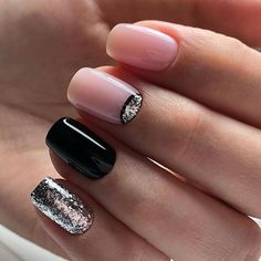 Pink black silver mismatched nail art design