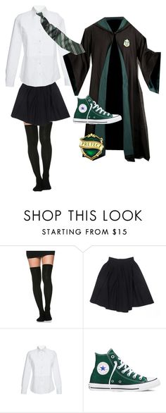 """Slytherin Uniform 1"" by hmg33198 on Polyvore featuring Le Mont St. Michel, Stella Jean and Converse"