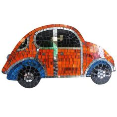 Size: 43 cm x 20 cm; Made from chipboard, cut glass and paints. Metal wall mounting hook on the rear of mirror for easy mounting.