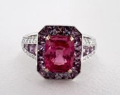 18K White Gold Pink Sapphire Halo Ring