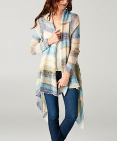 Look what I found on #zulily! Blue & Beige Stripe Mohair-Blend Open Cardigan, $27 !!  #zulilyfinds