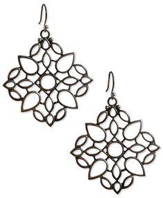 Lucky Brand Earrings, Silver Tone Openwork Drop Earrings
