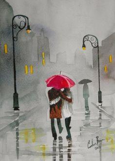 Rainy day autumn red umbrella romantic couple print by Gordon Bruce