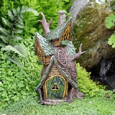 Fairy Tree House for your Miniature Fairy Garden lights up with battery candle