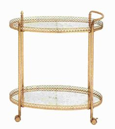 """Buy 35""""H Metal Glass Tea Cart in Stylish and Functional Design at wildorchidquilts.net"""