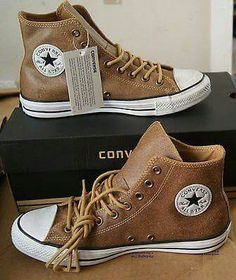 4aee2fb4be Tan Leather Chuck Taylors. Vintage Leather