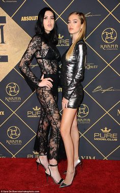 Sister act: Delilah Belle Hamlin, 19, and her sister Amelia Gray, 16, stepped out in eye-catching outfits for the Maxim Hot 100 party in Los Angeles, California on Saturday