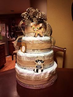 Woodsy Diaper cake for a baby shower