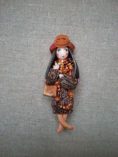Hand made doll brooch