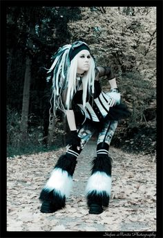 black / white fluffies outfit, cyberlox, corset