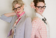 """as a girl with many pairs of glasses i am innately a smitten fan with """"the girls with glasses show"""" and i l.e their promotional studio shots Valentine Day Video, Valentines, Girls With Glasses, Womens Glasses, Mixing Prints, These Girls, Girl Photography, Clothing Items, Dress Brands"""