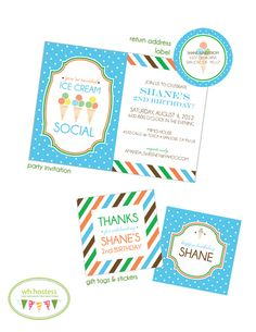 Ice Cream Social Party Invitation + Paper Goods by @WH Hostess