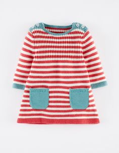Mini Boden Stripy Knit Dress (Baby Girls) available at - Babykleidung Knitting Baby Girl, Knitting For Kids, Baby Knitting Patterns, Crochet Baby, Crochet Patterns, Girls Knitted Dress, Knit Baby Dress, Baby Pullover, Baby Cardigan