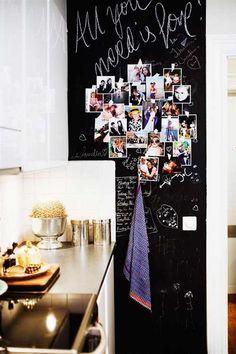 Chalkboard wall in kitchen. Very creative and fun.