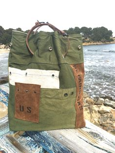 Tote bag /us army. upcycled army bag toile militaire recyclée.