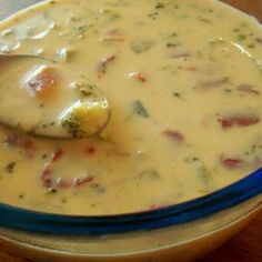 Weight Watchers Yummy Cheese Soup (Easy Too)...we make at least once a week in the winter.  I use 1bag cauliflower/1 bag broccoli