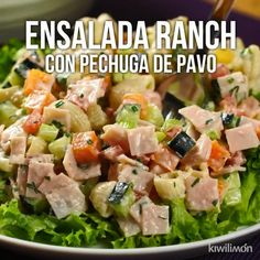 Ensalada Ranch con Pechuga de Pavo - Chew Tutorial and Ideas Appetizer Recipes, Salad Recipes, Diet Recipes, Chicken Recipes, Cooking Recipes, Healthy Recipes, Healthy Drinks, Deli Food, Good Food