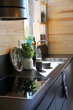 marimekko SKAMMI HOUSE Cabin Homes, Log Homes, Marimekko, House Rooms, Kitchen Dining, Scandinavian, Kitchens, Interior Decorating, Action