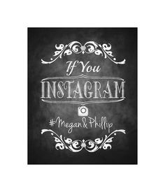 Instagram Wedding Chalkboard Sign - DIY Download and Print - Printable File - Royal Wedding Collection