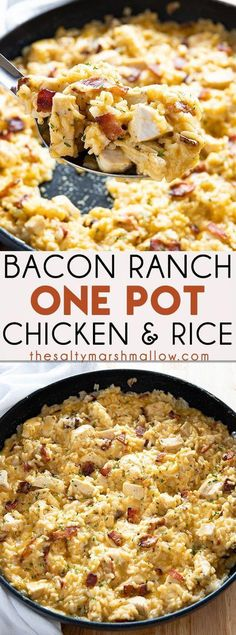 Bacon Ranch One Pot Chicken and Rice - The easiest and most flavorful chicken and rice recipe ever! Packed full of juicy chicken, crisp bacon, ranch, rice, and gooey cheese! food recipes Bacon Ranch One Pot Chicken and Rice Crockpot Recipes, Casserole Recipes, Cooking Recipes, Healthy Recipes, Skillet Recipes, Healthy Food, Quick Food Recipes, Minute Rice Recipes, Easy Potluck Recipes