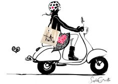 News - Sophie Griotto Illustration vespa Art And Illustration, Vespa Illustration, Illustrations, Vespa Girl, Scooter Girl, Vespa Rose, Fashion Sketches, Art Sketches, Motorcycle Art