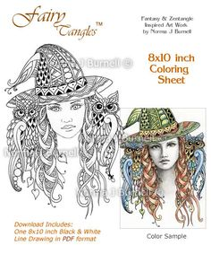 Miss Witch Fairy Tangles™ Coloring Book Page by Norma J Burnell: https://www.etsy.com/listing/196176872/miss-witch-original-fairy-tangles?ref=listing-shop-header-3