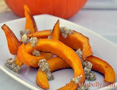 Thanksgiving Recipes : Roasted Pumpkin with Manchego Pesto Recipe