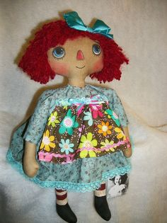 Primitive dolls~folk art~Raggedy Annie~17 in.~original by Dumplinragamuffin