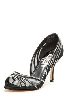 """Open toe  - Rhinestone trimmed vamp and heel  - Approx. 3"""" heel  - Imported This pair is so elegant, but other than Dream Night Date where would I wear them?"""