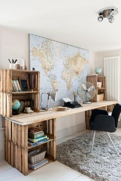 Love this travel inspired room- the map on the wall is great. And the rustic desk with crates is fun too.