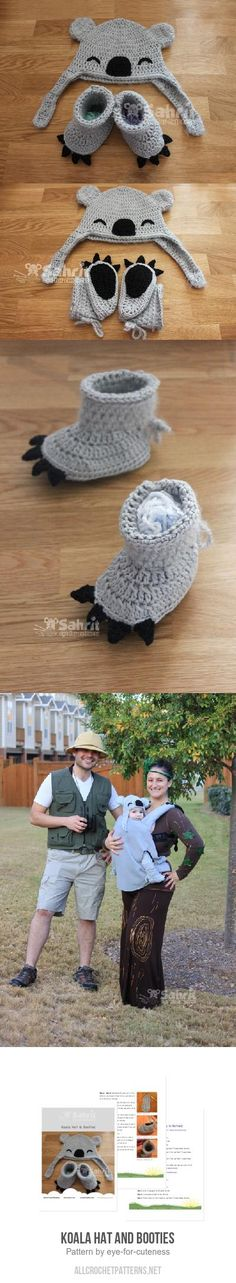 Koala Hat and Booties crochet pattern