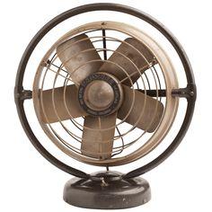 1stdibs | 1950s Stainless Steel Vintage Brown Fan