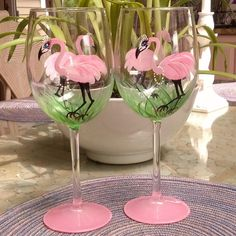 Girly Flamingo hand painted wine glasses by GlassesbyJoAnne, $38.00