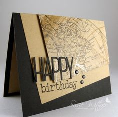 Geography Happy Birthday card | card stock: basic black (SU), kraft (PTI); patterned paper: kraft resist paper stash (Tim Holtz Idea-ology); ink: onyx black versafine; stamps: wonderful words additions (PTI); dies: tipped tops die set (PTI)