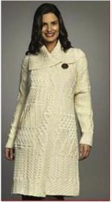 Done in a traditonal Irish shade of cream, this chic one button style has a comfortable, unconstructed fit that is flattering to all body shapes. Made of 100% merino wool, by Carraig Donn, this wool is softer than a traditional pure wool and yet still maintains the timeless elegance of Irish knitwear. Whether you're protecting yourself from the Irish cold, or simply want your winter wear to have an Irish feel, this is the coat for you. $130