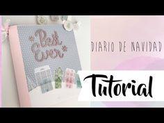 Tutorial: Diario de Navidad  Colaboración con Creavea es - YouTube December Daily, Art N Craft, Diy Art, Album, Diys, All Paper, Paper Design, Scrapbooks, Youtube